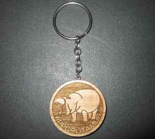 hippopotamus engraved key chain
