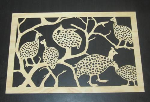 Guinea Fowl Wooden Wall Decor