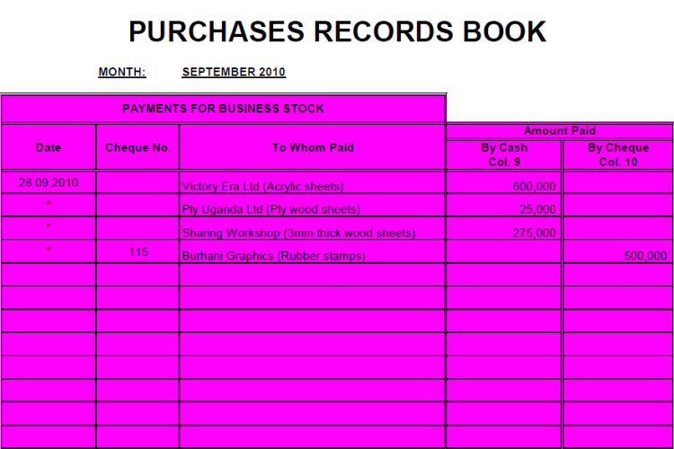Purchases Record Sheet