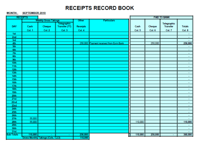 Receipts Records Sheet