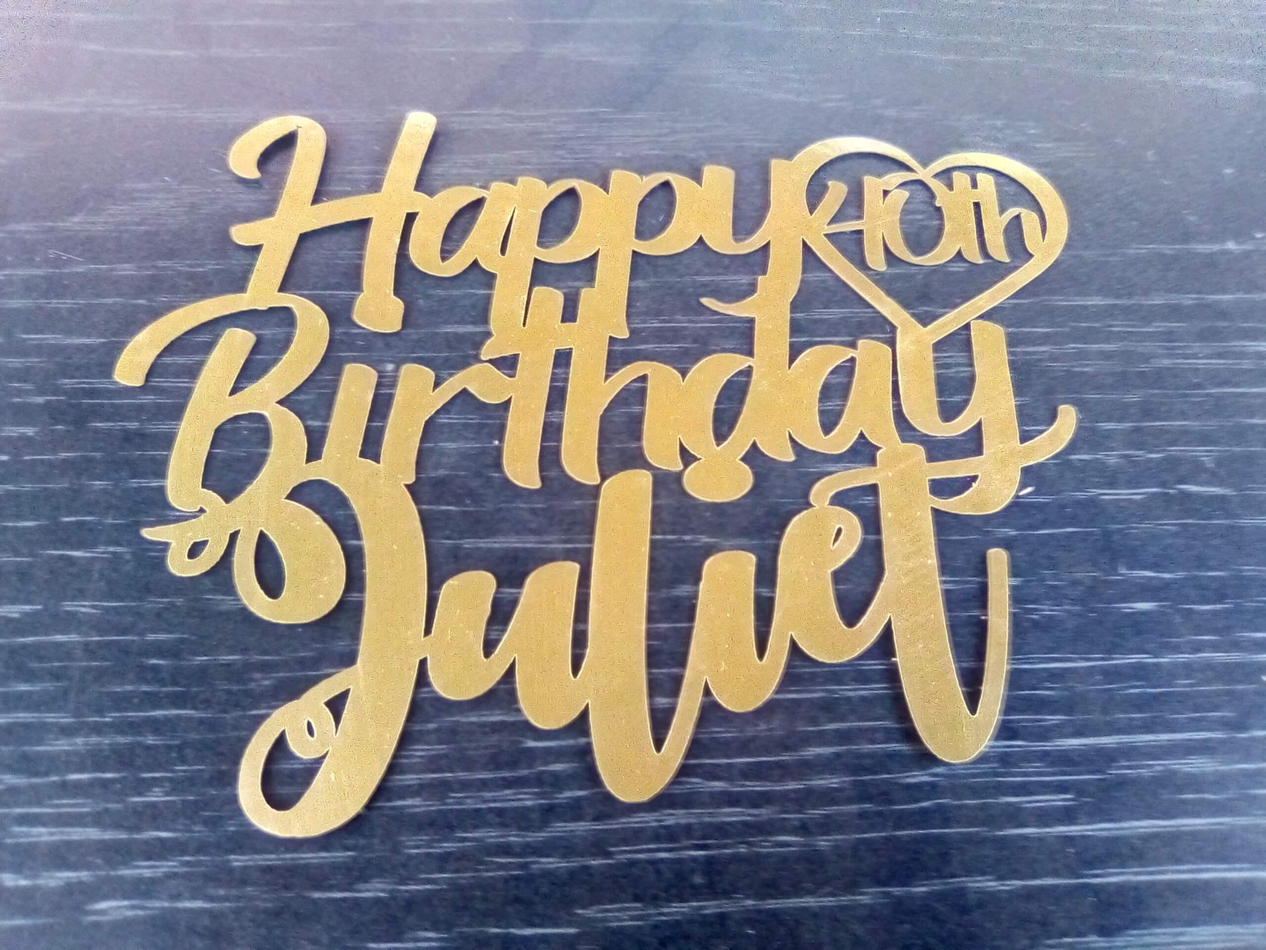 name happy birthday cake topper